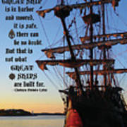 Celtic Tall Ship - El Galeon In Halifax Harbour At Sunrise Poster