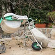 Cement Mixer And A Wheelbarrow In Croatia Poster