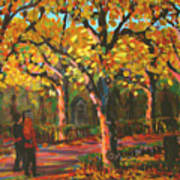Cemetary In Autumn Poster