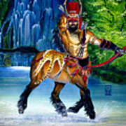 Centaur In Waterfall Poster