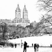 Central Park Snow Lakeside Poster