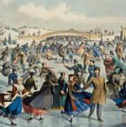 Central Park, Winter The Skating Pond, 1862 Poster