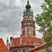 Cesky Krumlov Castle Tower In Cesky Krumlov Of The Czech Republic Poster
