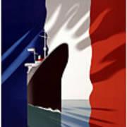 C.g. Transatlantique Vintage Travel Poster Poster