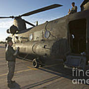 Ch-47 Chinook Crew Preparing To Load Poster