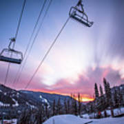 Chairlift Sunset Poster