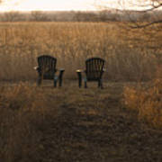 Chairs Overlook A Scenic Pasture Poster
