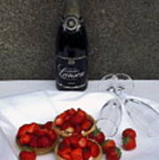 Champagne Bottle With Strawberry Tarts And 2 Glasses Poster