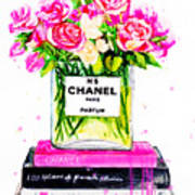 Chanel Nr 5 Flowers With  Perfume Poster