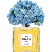 Chanel Perfume Nr 5 With Blue Hydragenias  Poster