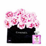 Chanel With Flowers Poster