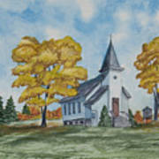 Chapel In Fall Poster