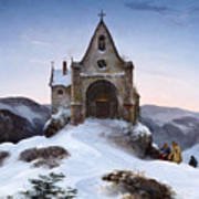 Chapel On A Mountain In Winter Poster