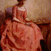 Chaplin Charles Girl In A Pink Dress Reading With A Dog Poster