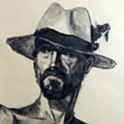 Charcoal Portrait Of A Man Wearing A Summer Hat Poster