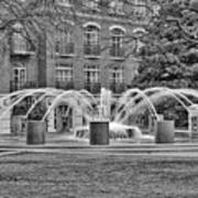 Charleston Waterfront Park Fountain Black And White Poster
