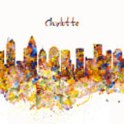 Charlotte Watercolor Skyline Poster