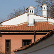 Charming Chimneys - White Stucco And Terracotta Juxtaposition Poster