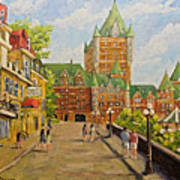 Chateau Frontenac Promenade Quebec City By Prankearts Poster