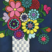 Checkered Bouquet Poster