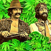 Cheech And Chong In The Garden Of Eden Art Print By Pd