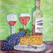 Cheese Wine And Grapes Poster