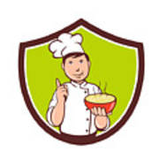 Chef Cook Bowl Pointing Crest Cartoon Poster