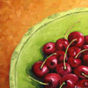 Cherries Green Plate Poster