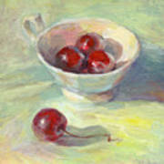 Cherries In A Cup On A Sunny Day Painting Poster by Svetlana Novikova