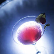 Cherry Martini Cocktail Drink At Night Poster