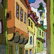 Chesky Krumlov Street Nove Mesto Poster