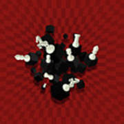 Chessboard And 3d Chess Pieces Composition On Red Poster