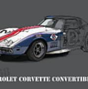Chevrolet Corvette Convertible L88 1968,original Fast Race Car Poster