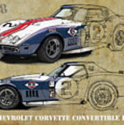 Chevrolet Corvette Convertible L88 1968,original Fast Race Car. Two Drawings, One Print Poster