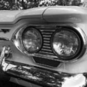 Chevy Corvair Headights And Bumper Black And White Poster