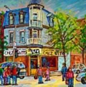 Chez Vito Rue Fairmount Landmark Architecture Beautiful Summer Scene Montreal 375 Carole Spandau Art Poster