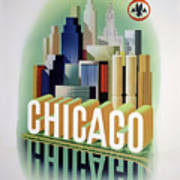 Chicago American Airlines 1950 Poster