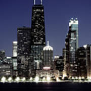 Chicago At Night High Resolution Poster