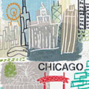 Chicago Cityscape- Art By Linda Woods Poster