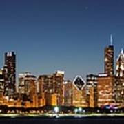 Chicago Downtown Skyline At Night Poster