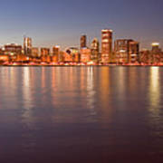 Chicago Dusk Skyline Panoramic  Poster