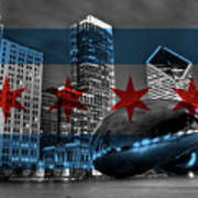 Chicago Flag Bean Poster