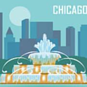 Chicago Illinois Horizontal Skyline - Buckingham Fountain Poster
