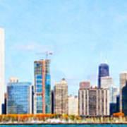 Chicago Illinois Skyline Painterly Triptych Plate Three Of Three 20180516 Poster