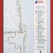 Chicago Marathon Race Day Route Map 2014 Poster