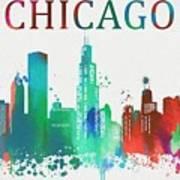 Chicago Paint Splatter Poster