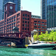 Chicago Parked By The Clark Street Bridge On The River Poster
