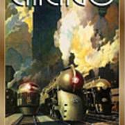 Chicago Railway, Steam Trains Poster