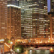 Chicago River At Night Poster