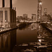 Chicago River B And W Poster